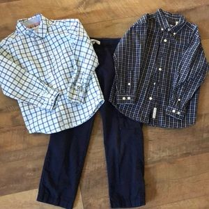 2 button down shirts and matching pants